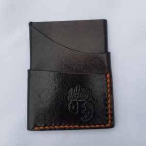 Leather Card Wallet Chocolate brown with orange thread