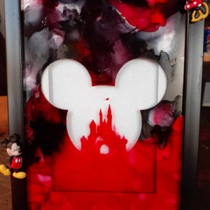 Disney Character Picture Frame/One of a Kind Alcohol Ink Frame/Unique Frame/Mickey Mouse Frame/Minnie Mouse Frame/Disney Frame