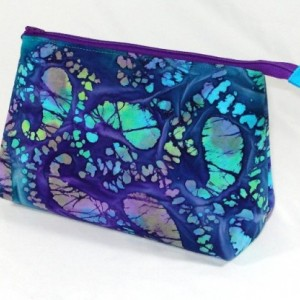 BRIGHT and COLORFUL Blue and Purple BATIK 100% cotton Cosmetic Bag, Bridesmaid Gift, Holiday Gift, Toiletry Bag, Pencil Case, Travel Bag