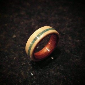Ready to ship size 8.5 (Bentwood ring) Beech with spanish cedar and a thin offset crysicola