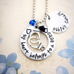 Police Officer wife, My heart belongs to a hero, police wife necklace, police officer support, hand stamped jewelry, hand stamped necklace