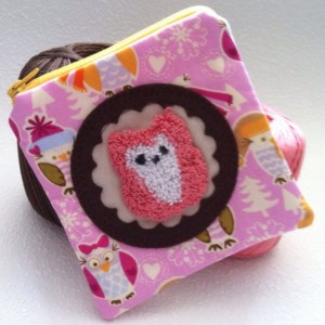 Little pink and white owl zipper pouch with needle punch embroidery