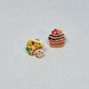 Kawaii Cupcake and Mushroom Dollhouse Miniatures Brooches Pin Set