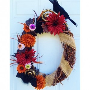 Fall Halloween Wreath in Black and Orange with Red and Burlap Accents - Googly Eyes Wreath with Bat, Crow, Sparkle Leaves and Fall Flowers