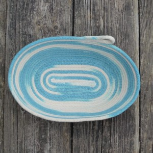 coiled rope basket, variegated natural white and turquoise