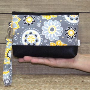Vegan Wristlet, Crossbody Wallet, iPhone 7 Plus In Otterbox, Samsung Galaxy Note, S6 S7 Edge, Cell Phone Purse or Clutch / Yellow Gray Black