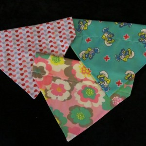 3 Pack of Dog Collar Bandanas (Girly Glamour) Smurfette, Flowers, Geo