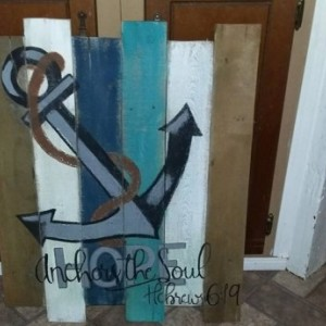 Anchor Pallet Sign, Hope Anchors the Soul rustic wooden sign, Hebrews 6.19