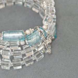 Rosary Bracelet of Clear and Light Blue Glass with Silver Plated Findings
