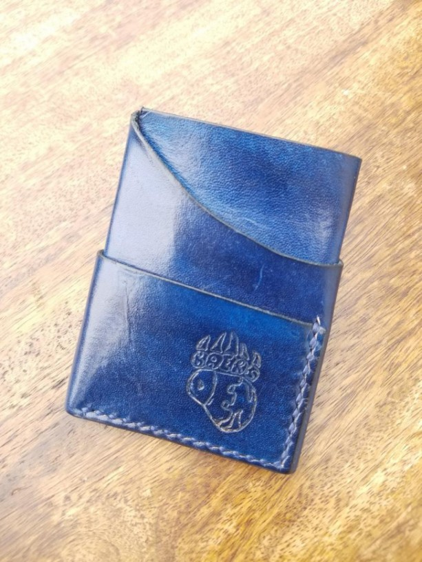 Leather Card Wallet Blue with navy blue thread