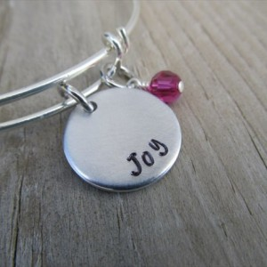 """Inspiration Bracelet- Hand-Stamped """"Joy"""" Bracelet with an accent bead in your choice of colors"""