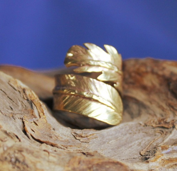 Brass Feather Adjustable Ring