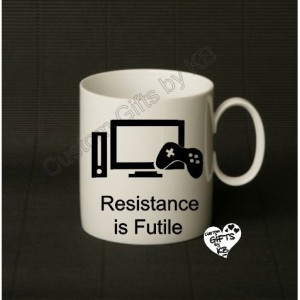 Resistance is Futile Mug, Christmas Gift, Anniversary, Birthday Gift, Star Trek, Spock, Xbox, Gaming, Gaming Mug, PS4, WiiU, Xbox One