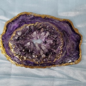 "Amethyst and Gold Eco-Epoxy Resin Geode ""Positively Purple"""