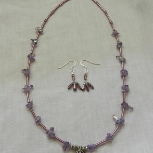 Necklace, Earring Set Amethyst  Wire Wrapped Heart with Amethyst chip