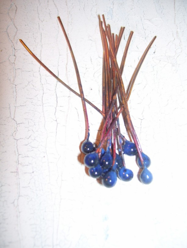 Enameled head pins Denim Blue Jeans Made to order