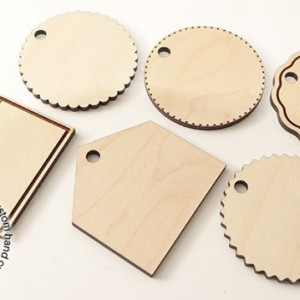 "Dozen 2"" Blank Wood Tags - 12 Pack - Laser Cut - Wedding, Gifts, Favors, Guest, Pet, Luggage, Backpack,"