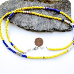 Yellow trade bead necklace,  African  necklace,  Seed bead necklace / yellow necklace / African jewelry / layered necklace / Simple necklace