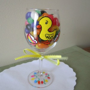 Painted Wine Glass Easter Duck with Egg 12 oz. Stemware