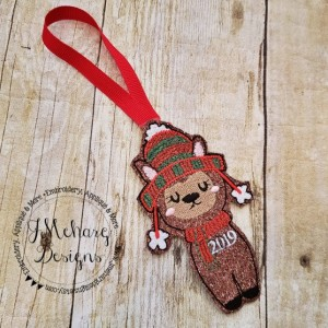 Buy 3 Get 1 Free Custom Embroidered Christmas Llama Ornament