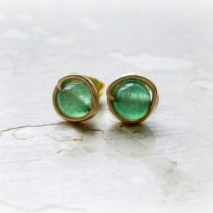 Aventurine Stud Earrings, Gold Wire Wrap Studs, Little Studs, Hypoallergenic, Gold Filled Posts, Green Stud Earrings, Contempo Jewelry
