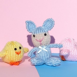 Easter Basket Toys, Knit Small Toys, Hand Knitted Easter Gift, Bunny, Chicks, Kids Toy, Plush Chick, All Handmade, Ready to Ship, Soft Toys