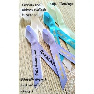 10 Personalized Ribbons in Spanish or other language  (unassembled)