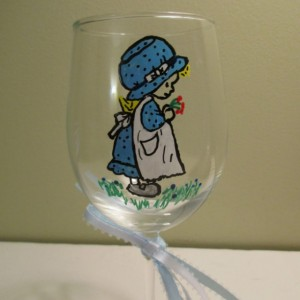 Painted Wine Glass Holly Hobbie in White Apron 12 oz.