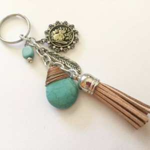 Tassel Keychain, Mixed Metal Keychain, Keyring, Rearview Mirror Charm, Purse Charm, Bag Charm, Gift for Her, Turquoise, Indian Head, Native