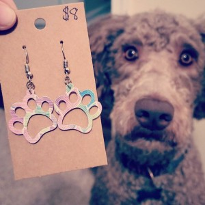 Paw Print Faux Leather Earrings