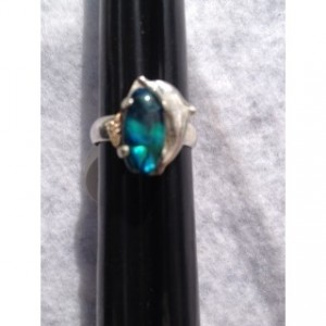 STERLING SILVER RING W/BLUE ABALONE AND DOLPHIN ACCENT