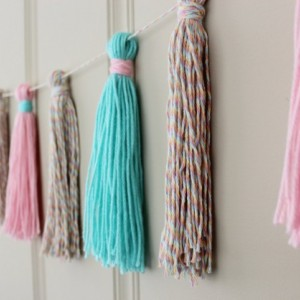 Yarn Tassel Garland No. 3 in Cotton Candy Pastels - Tassel Decor - Wall Hanging - Photo Prop - Nursery Decor - Ready to Ship