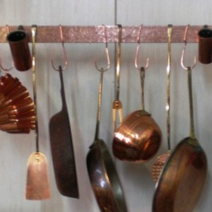 36 in Hanging SOLID COPPER Bar Pot Rack with 8 hooks & 22in chain --- FREE Shipping to U S Zip codes