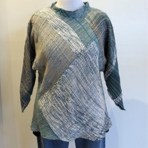 Teal and White Wide Neck Tunic