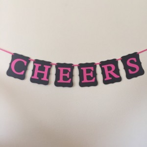 Cheers Banner, Black and Pink, Bachelorette Banner, Bachelorette Party, Bachelorette Decoration