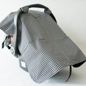Black & White Houndstooth Carseat Canopy