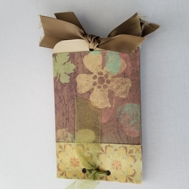 Unique Handmade Mini Journal with ribbons & tags