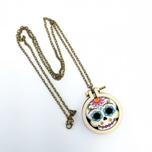 Sugar Skull Day of the Dead Mini Hoop Necklace-Sugar Skull Necklace-Dia de los Muertos Necklace-Calavera Necklace-Day of the Dead Necklace