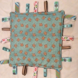 Unisex Baby Tag Security Elephants Print with Brown Minky Ultrasoft fabric on back