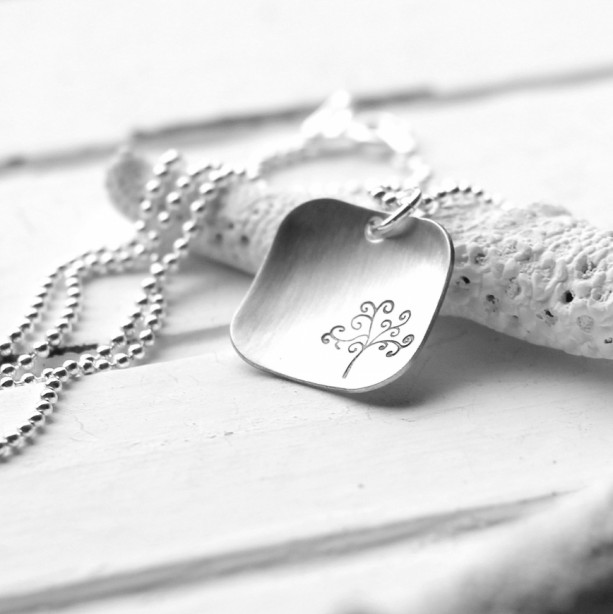 Square Tree of Life Hand Stamped Sterling Silver Necklace