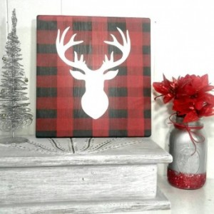 Christmas Decor - Christmas Decorations - Wood Christmas Decor - Plaid Christmas Decor - Plaid Christmas Wood Signs - Rustic Wood Signs
