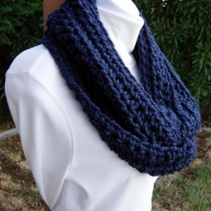 Dark Navy Blue INFINITY SCARF Women's Extra Soft Loop Solid Blue Cowl, Crochet Knit Warm Winter Lightweight Endless Circle..Ready to Ship in 3 Days