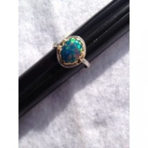 OPAL RING, STERLING SILVER W/ 14KT GOLD ACCENTS