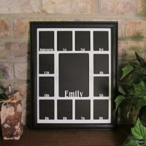 School Years Frame with Name Graduation Collage K-12 Black Picture Frame White Matte 11x14