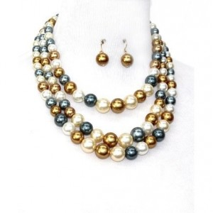 Assorted Color Pearl Multi strand Necklace Set