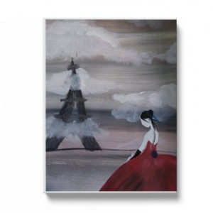 """Hand painted """"Red lady"""" print"""