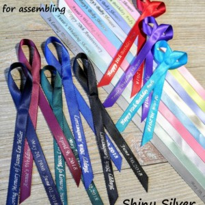 10 Personalized Ribbons with silver foil ink 3/8 inches wide(unassembled)
