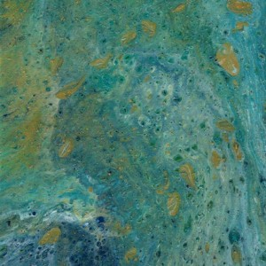 """8x10 Abstract Acrylic Pour Title """"Ocean Blue"""""""