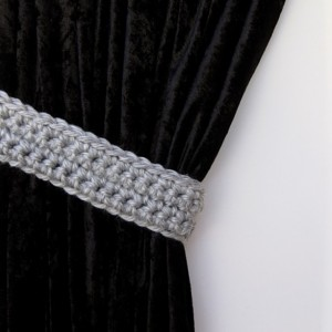 Pair of Light Silver Gray Curtain Tiebacks, Solid Grey Curtain Tie Backs Drapery Ties Drapes Holders, Crochet Knit, Ready to Ship in 3 Days