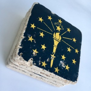 Indiana State Flag Natural Stone Coasters, Set of 4 with Full Cork Bottom